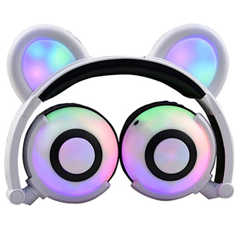 Foldable Bear Ear Recharging Headphones Panda Cosplay Gaming Headset With Glowing LED Light halloweeen gift for girls kids Phone