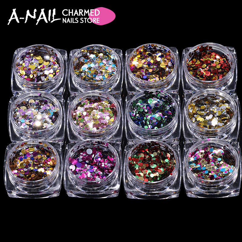 12 jars /set Nail Art Glitter 12 colors ROUND Shapes Confetti Sequins Acrylic Tips UV Gel 3D nail art decorations tools