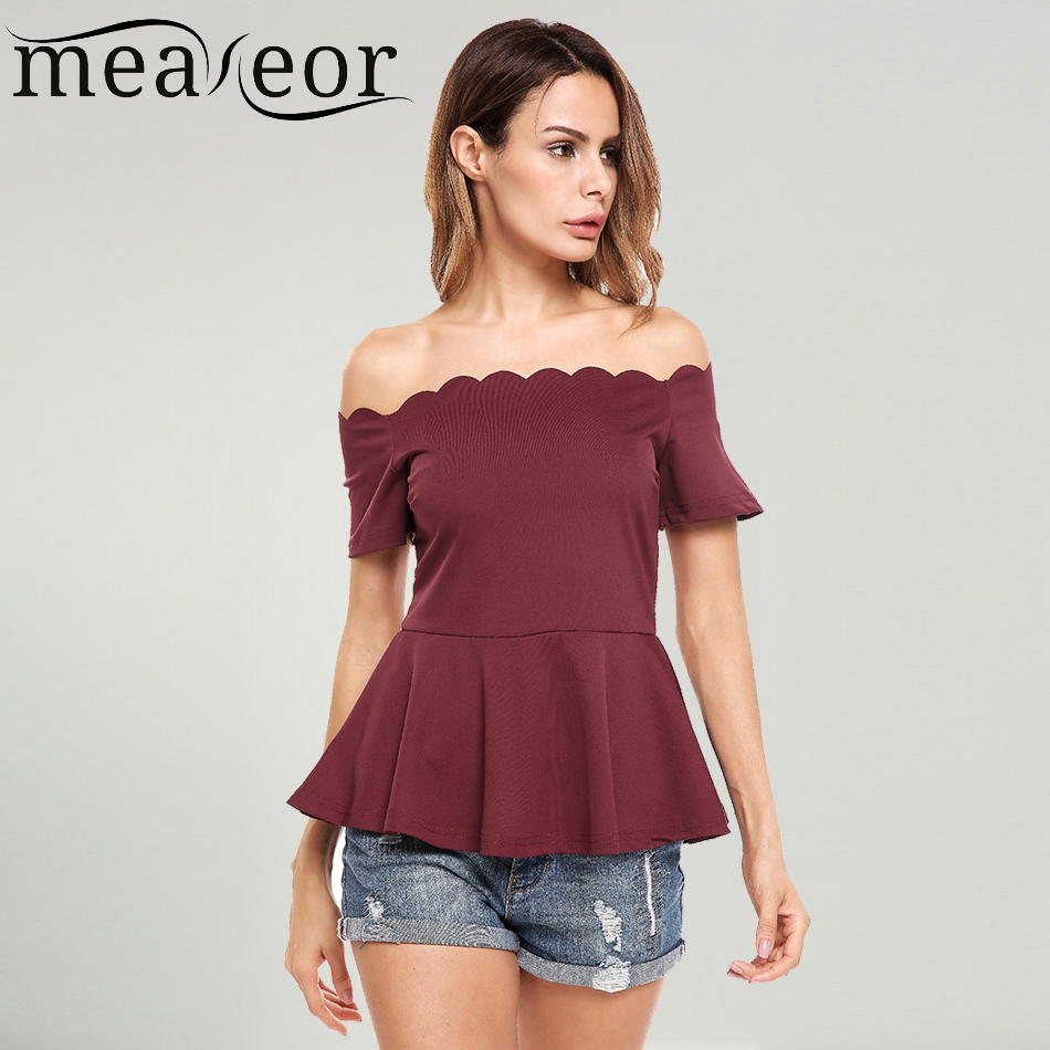 Meaneor Women Casual T-Shirt Slash Neck Off Shoulder Sexy A-Line Wave Collar Solid Pleated Hem Elastic Summer Tshirts