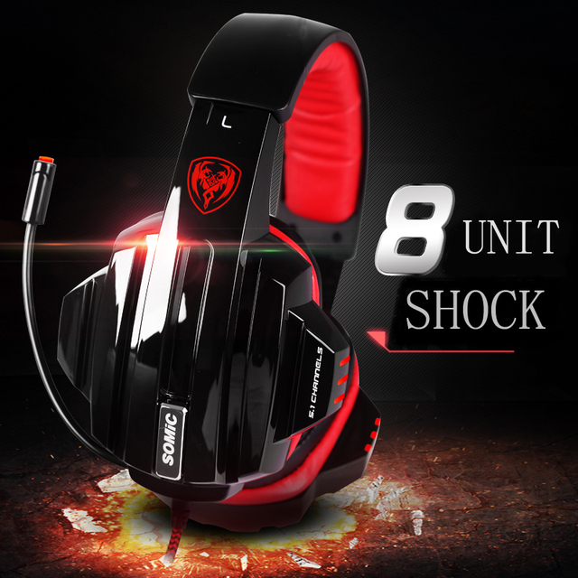 Somic E95 Professional 7.1 Vibration USB Gaming Headset  Over-Ear Headband Headphone with Mic Volume Control Noise Cancelling