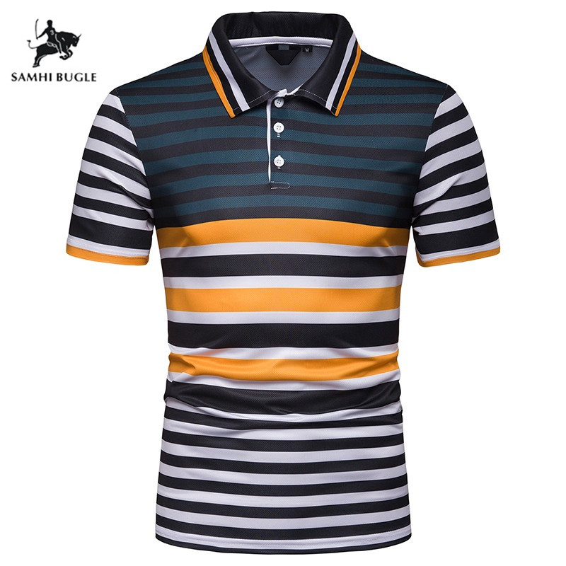 Stripe design Lapel short-sleeved   polo   shirt men 2019 summer Cotton Business Casual   polos   para hombre