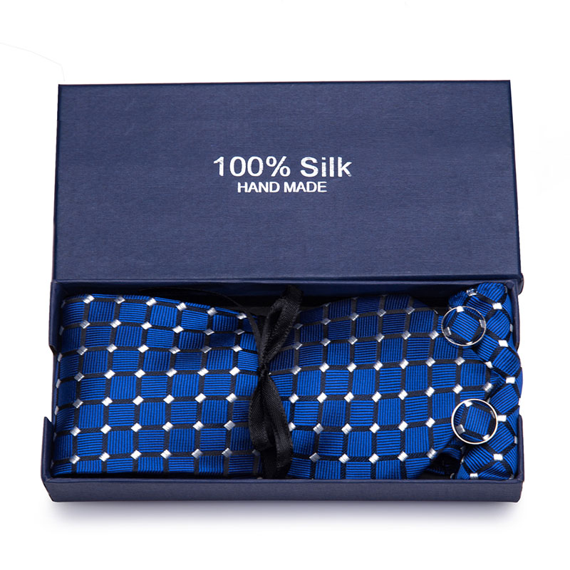Gift box 2019 Men s Tie 100 Silk Jacquard Woven Necktie Hanky Cufflinks Sets For Formal Wedding Business Party in Men 39 s Ties amp Handkerchiefs from Apparel Accessories