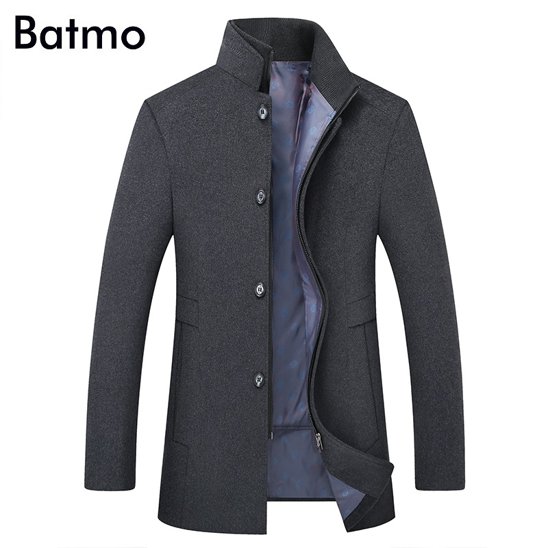 BATMO 2019 New Arrival Winter High Quality Wool Thicked Trench Coat Men,men's Gray Wool Jackets ,plus-size M-6XL,1818