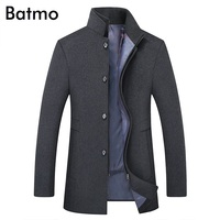 BATMO 2019 new arrival winter high quality wool thicked trench coat men,men's gray wool jackets ,plus size M 6XL,1818