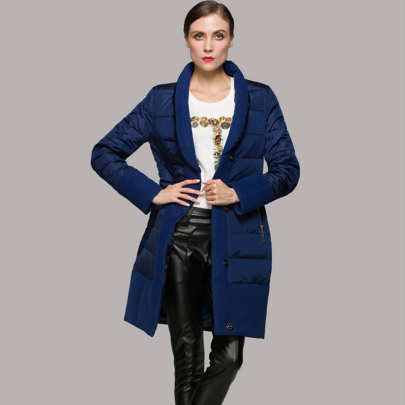 90% duck down warm down coat 2018 Europe down jacket long fashion creative stitching woolen down coat w1105