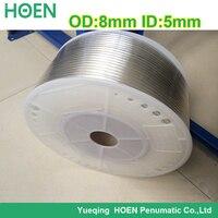 Бесплатная доставка 100 м/лот PU8 * для девочек от 5 до 8 мм (диаметр) * 5 мм (ID) прозрачность цвет пневматический компонент полиуретановая трубка п