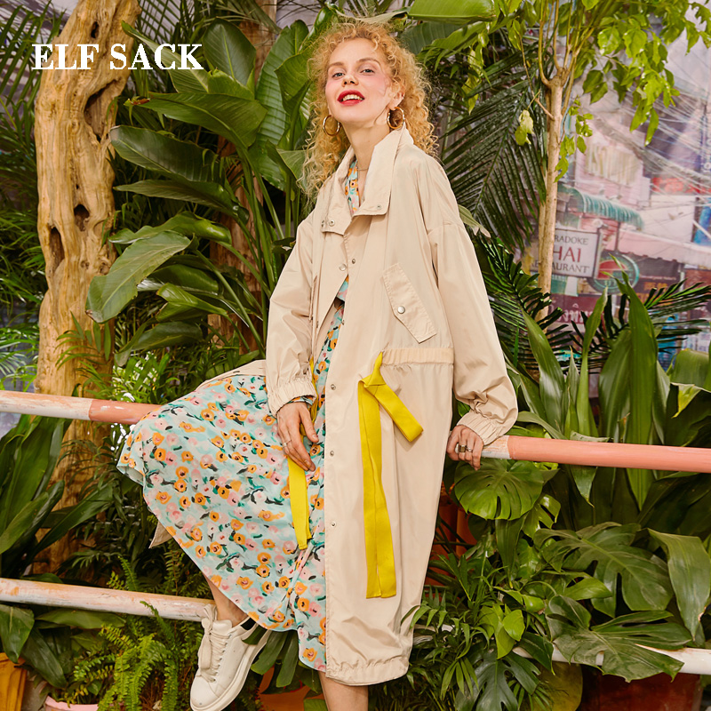 ELF SACK 2019 New Woman Oversized   Trench   Full Streetwear Turn-down Collar Ladies   Trench   Coats Solid Wide-waisted Ladies   Trench