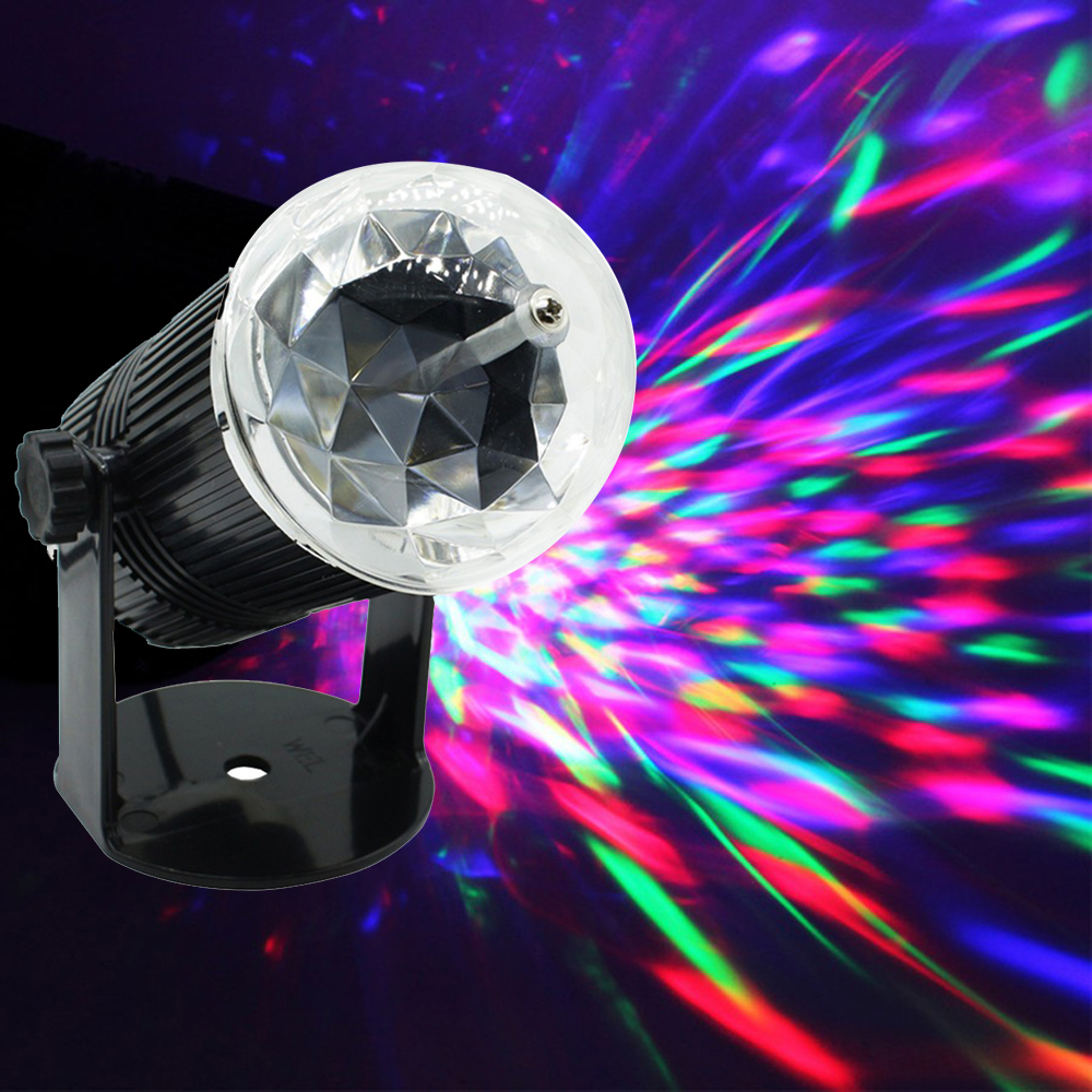 Professional Disco Ball Voice Cotrol Mini RGB LED DJ Stage Light Auto Rotating Crystal Magic DI Party Stage Lights Sound Active цена 2017