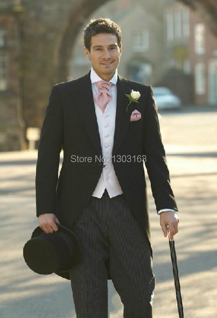 2016 Morning style suits Black Groom Tuxedos Groomsmen Men Wedding Suits  Prom Clothing (jacket+ 6733960eb32e