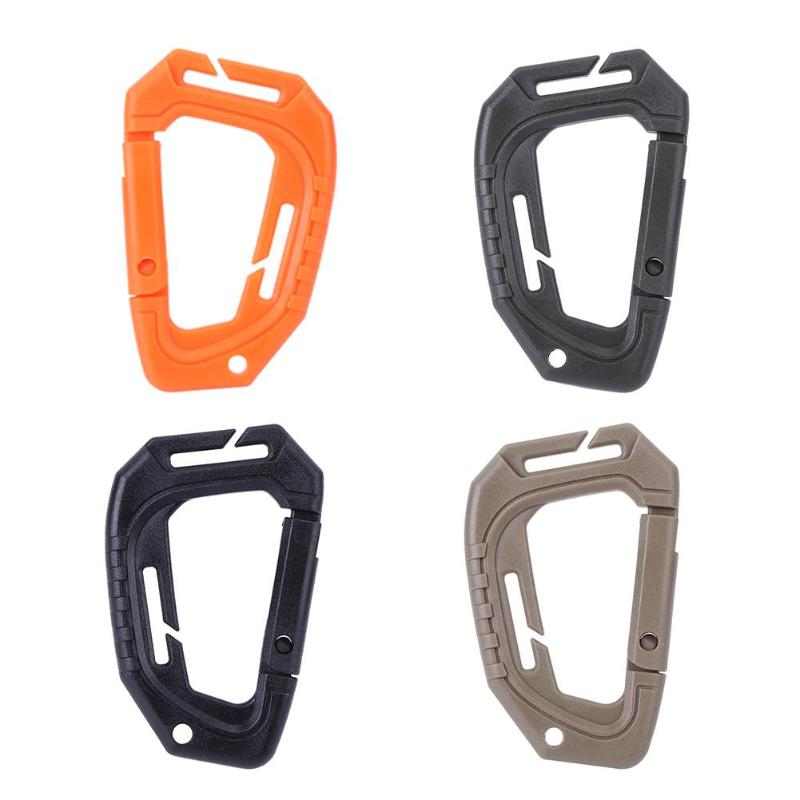 Climbing Accessories Black D Shaped Plastic Carabiner Hook Keychain For Outdoor Camping Hiking Rock Rescue 200LB Z50