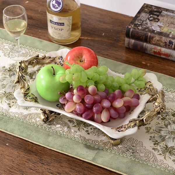Europeo piatto di frutta in ceramica tè del pomeriggio piatto spuntino cesto per la casa soggiorno tavolo in ceramica ornamenti regalo di nozze - 3