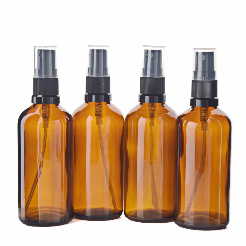 4 X 100ml Empty Amber Glass Aromatherapy Spray Bottles with Fine Mist Sprayer for Essential oil Perfume Cosmetic Containers