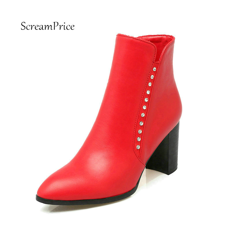 Women Thick High Heel Ankle Boots Fashion Pointed Toe Side Zipper Rivet Shoes Woman White Apricot Red Black camel camel boots cowhide thick heel rivet velvet fashion pointed toe boots vintage casual thermal boots