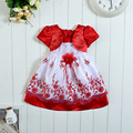 2016 baby girls petal sleeve lace princess dress children nylon satin red little kids chiffon floral gown wedding partychristmas