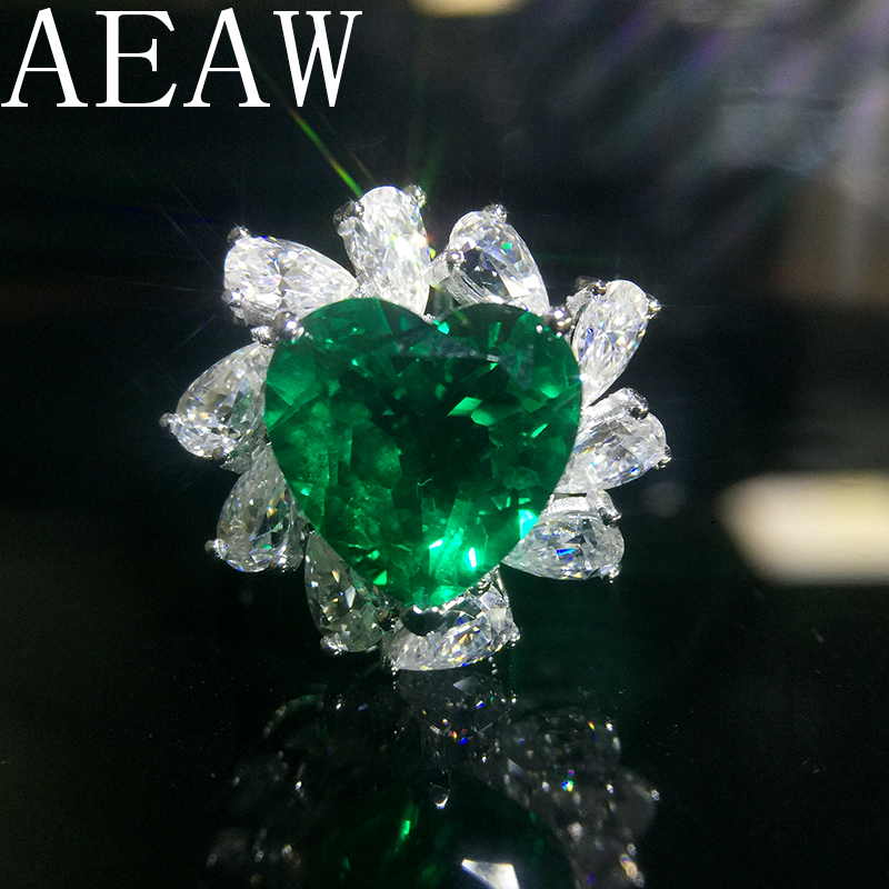 AEAW 5ct AAA Lab Created Colombian Emerald Heart Emgagement Ring Real Solid 14k White Gold with Pear Moissanite for WomenAEAW 5ct AAA Lab Created Colombian Emerald Heart Emgagement Ring Real Solid 14k White Gold with Pear Moissanite for Women