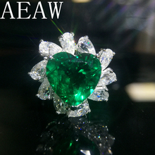 AEAW 5ct AAA Lab Created Colombian Emerald Heart Emgagement Ring Real Solid 14k White Gold with Pear Moissanite for Women