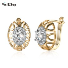 Visisap Hollow Oval Baroque Hoop Earrings For Girls Champagne Color Earring Clear Stone Earings Brincos Trendy Jewelry VKZCE119