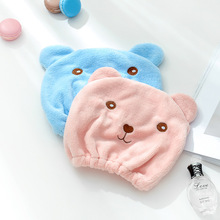 1pcs Cartoon cute bear shower cap Microfiber Hair Turban Quickly Dry Ha