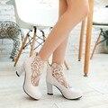 Women shoes heelnet crochet de hilo sexy zapatos documentales gruesos para zapatos de mujer matrimonio, grandes y pequeños 32-47 tamaño de pie