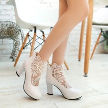 women shoes high heelnet yarn crochet sexy high coarse documentary shoes for women's shoes marriage, large and small size 32-47
