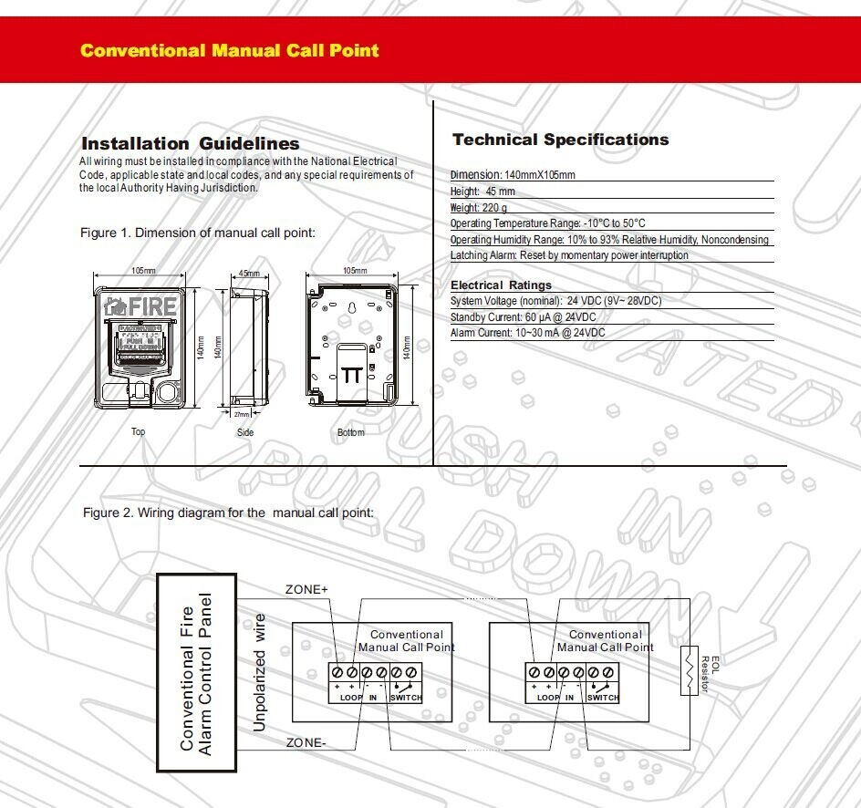 hight resolution of the conventional manual call point
