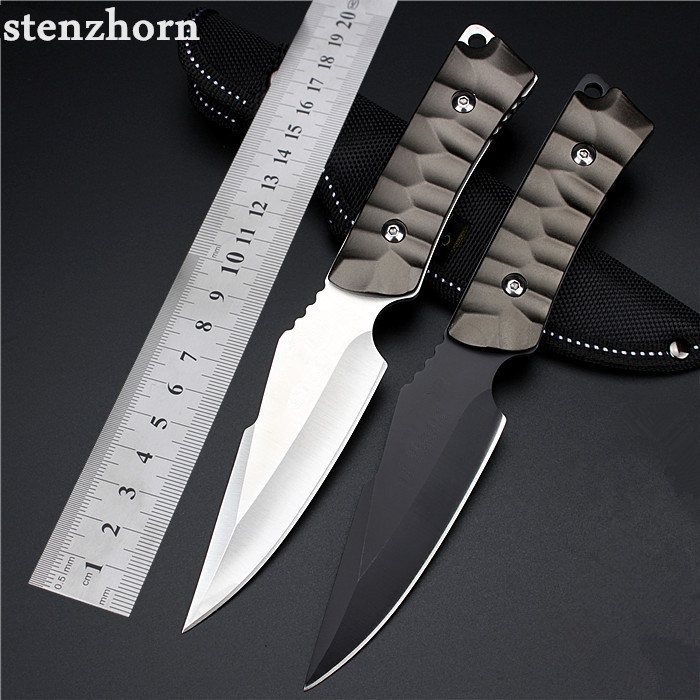 ФОТО Stenzhorn New Outdoor Self-defense Field High Hardness Small Straight Knife Wilderness Survival Of Folding Fruit Quality Goods