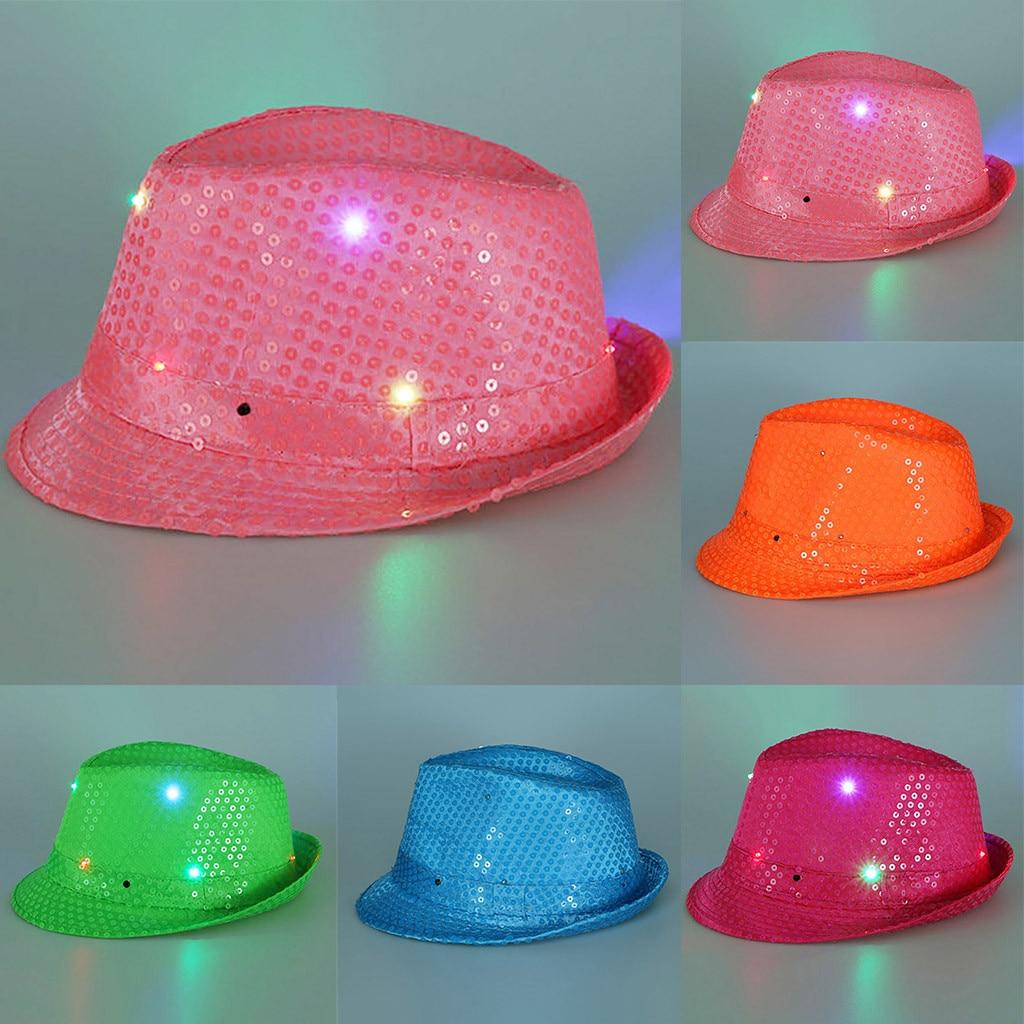 2019 New Arrived Shiny Cowboy Hat Flashing Light Up Led Colorful Sequin Unisex Fancy Dress Dance Party Fedoras Hat Chapeu #c