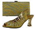 Women Pumps African Shoes And Matching Bags Italian Design African Shoes And Bag Set For Party In Women Gold Color 281