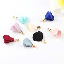 10pcs/lot wholesale 25mm small silk flower tassels with gold cap charms silk tassel for earrings DIY findings jewelry making