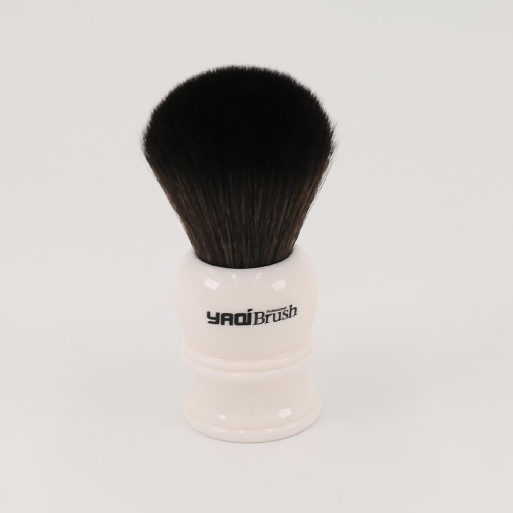 24mm Size Knot White Handle Black Synthetic Hair Shave Brush