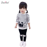 2017 Spring Brand Domeiland Children S Boutique Outfits Clothes Sets 2pcs Kids Girl Cotton Striped Cute