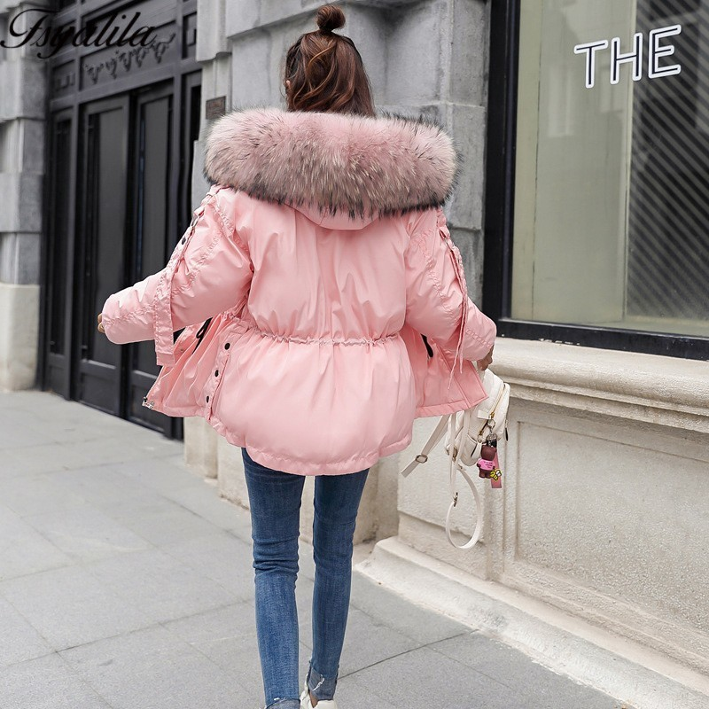Pink Winter Jacket Women Fur Hood Coat Winter Warm   Parka   Big Fur Down Jacket Woman Hooded Korean Fur   Parka   Ladies Coats 2018 New