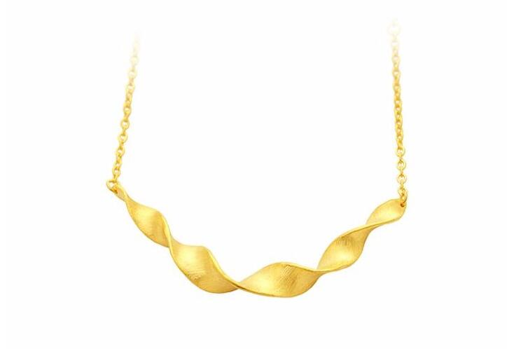 Pure 24K Yellow gold Water Ripple Necklace chain Women's Necklace 10.38g