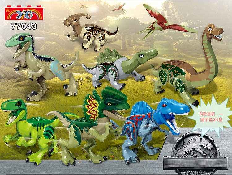 YG 77043 80pcs/lot Dinosaur Tyrannosaurs Rex Parasaurolophus Brachiosaurus S.aegyptiacus Building Blocks bricks baby Toys-in Blocks from Toys & Hobbies    1