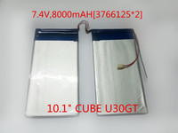 Free Shipping 7 4V 8000mAH 3766125 2 Polymer Lithium Ion Battery For 10 1 CUBE U30GT