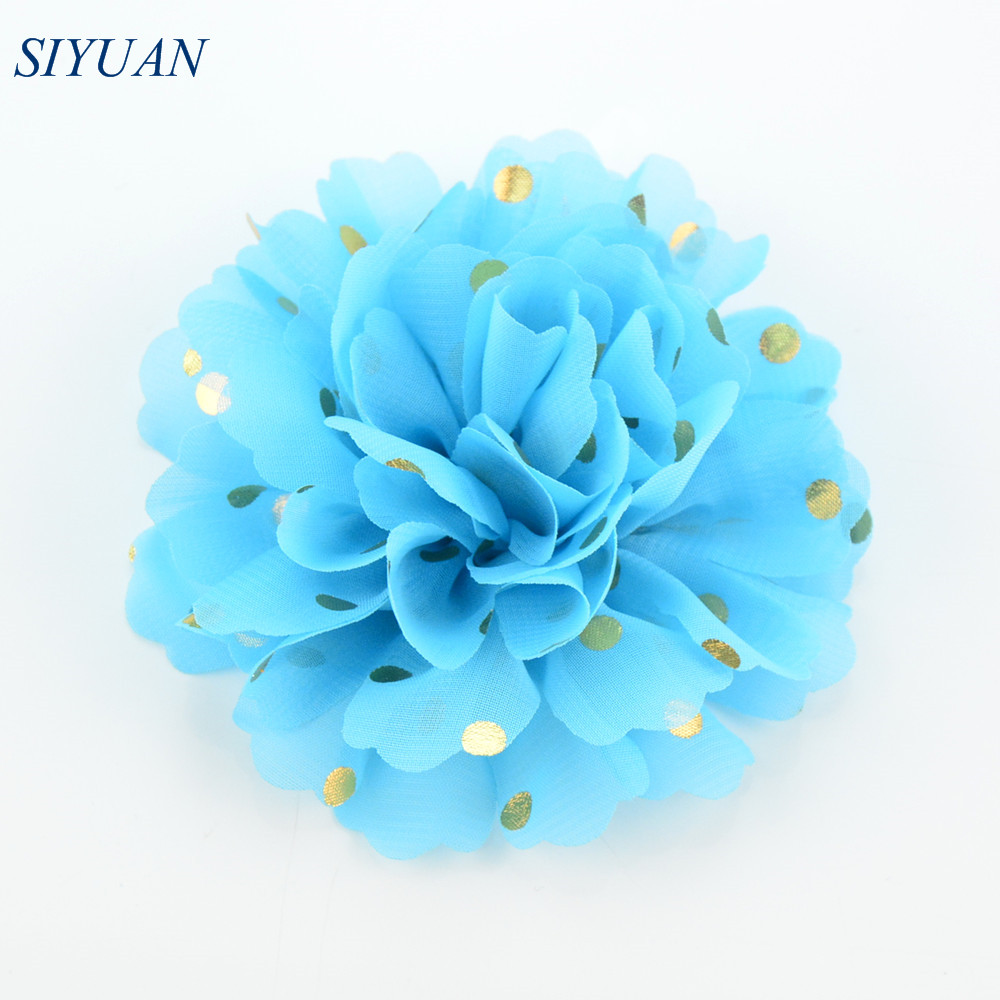Wholesale 160pcs/lot 10.0cm Large Gold Polka Dotted Fabric Chiffon Flower Dress Apparel Headband Accessories 32 Colors H0251