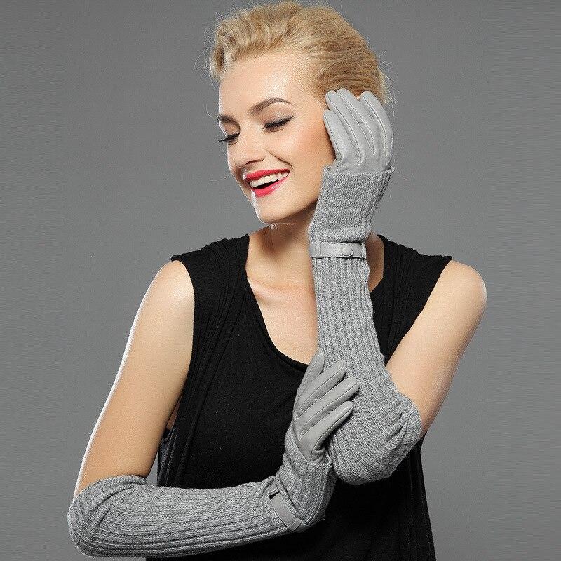 Femmes Hiver Gants En Cuir Véritable peau de Mouton Laine Gants Tricoté Conception Manches Mode Chaud Dames Gants Doux de Conduite En Plein Air