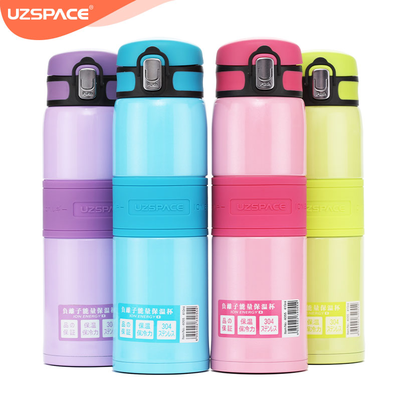 UZSPACE 410ML Voedsel Thermos Roestvrijstalen Waterfles Geïsoleerde Vacuum Kolf Gesloten Draagbare Mode Reizen Koffiemok Thee Cup