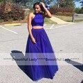 Longo Azul Royal Vestidos de Baile 2016 O Decote Fora Do Ombro frisado Tull 2 Peça Africano Vestido de Baile Plus Size Robe De sarau