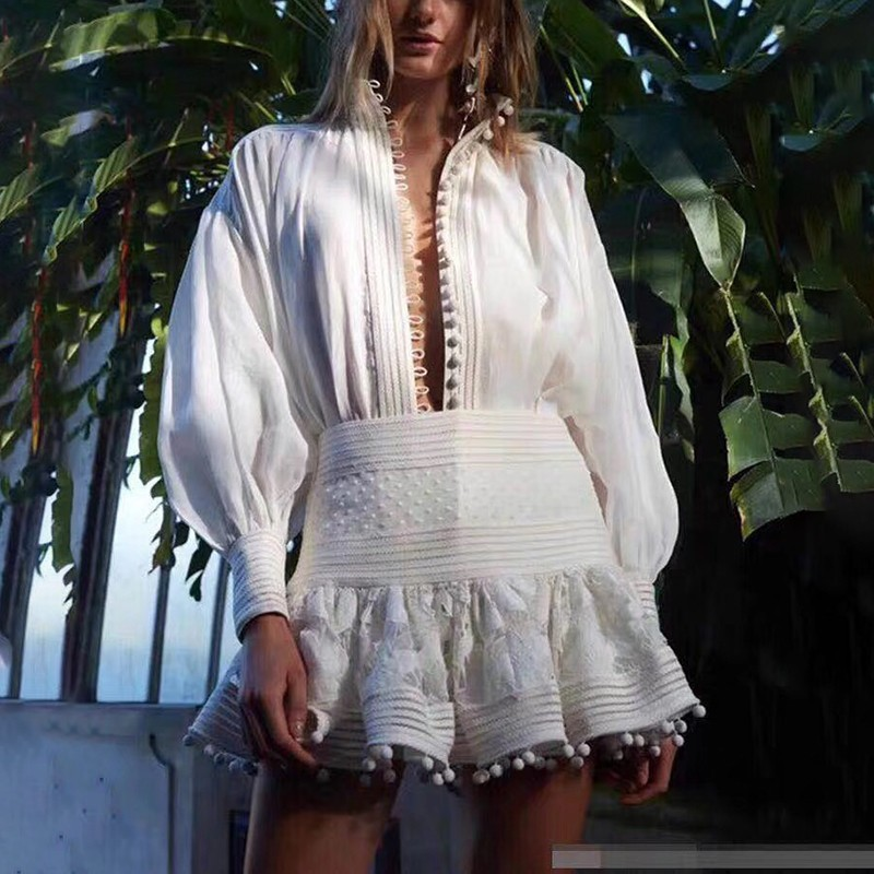 TWOTWINSTYLE Lace Patchwork Women Suit Lapel Lantern Sleeve Shirt High Waist Slim Mini Skirt Two Piece Set Female Spring 2019