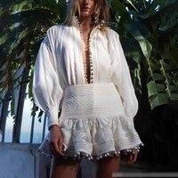 TWOTWINSTYLE, кружевной лоскутный женский костюм, рубашка с лацканами и рукавами-фонариками, высокая талия, облегающая мини-юбка, комплект из двух...