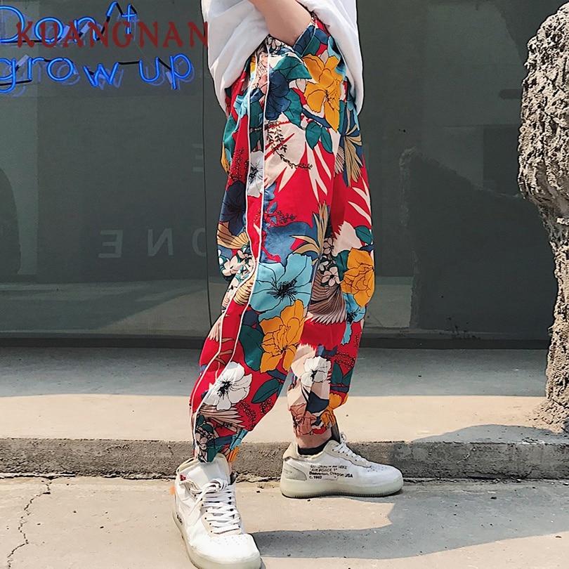 KUANGNAN japonés Floral Harem pantalones hombres Jogger Sweatpants Hip Hop pantalones hombres Streetwear Joggers hombres Pantalones Casual 2018