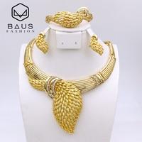 Leaves Necklace 18k Gold Plated Habesha Arabic Nigerian Wedding African Beads Jewelry Set Bijoux Africain Ensemble