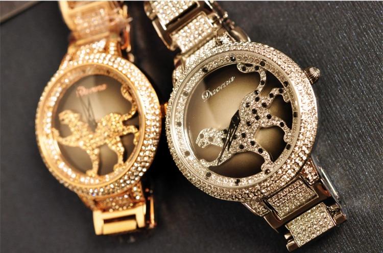 Marque Designer populaire léopard Montre bonne chance tourné Montre-bracelet femmes cristaux robe montres Quartz Relogio Montre Femme 3ATM