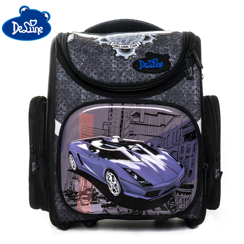 Delune New 3D School Bags For Boys Girls Car School Backpack Folded Children Orthopedic Backpacks Primary