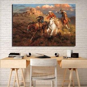 Ocidental cowboy hd impressão em tela quarto decoração da casa moderna arte da parede quadro pintura a óleo