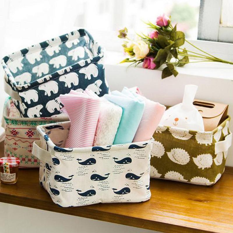 Storage Basket DIY Office Desktop Organize Folding Linen Toy Storage Box Pastoral Floral Animal Jewelry Makeup Organizer