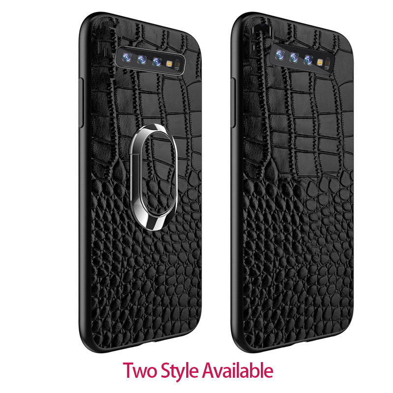 For Samsung s10plus back cover Car Magnetic Ring Holder for Samsung s10e case Genuine Leather Kickstand capa for galaxy s10 case in Fitted Cases from Cellphones Telecommunications