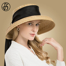 FS Hepburn Style Women Summer Hats Beach 2019 Natural Color Flat Large Wide Brim Hat Boater Straw Fedora Bowknot Girls Sun Caps