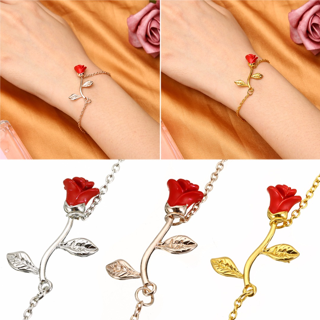Bracelets & Bangles Boho Chain Wristband Bracelet Bangle Fashion Womens Elegant Red Rose Flower Bracelet Pulseira Feminina Charming Party Jewelry Bringing More Convenience To The People In Their Daily Life Jewelry & Accessories